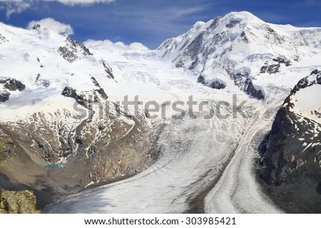 The Gorner Glacier (Gornergletscher) in Switzerland, second largest glacier in the Alps - stock photo