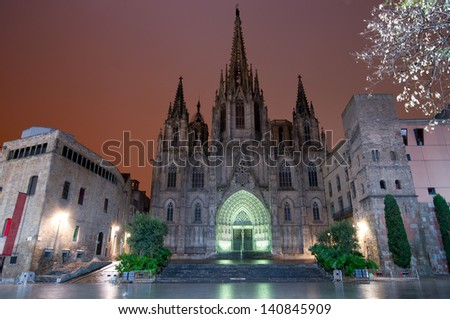 The gothic Barcelona Cathedral at night - stock photo
