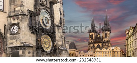 The gothic Church of Mother of God in front of Tyn and Astronomical clock in Old Town Square, Prague, Czech Republic - stock photo