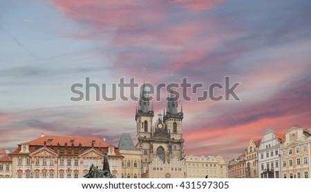 The gothic Church of Mother of God in front of Tyn in Old Town Square in Prague, Czech Republic   - stock photo