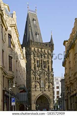 The Gothic Powder Tower in Prague  - stock photo