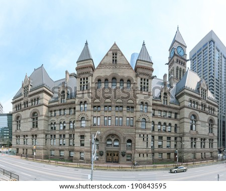 The gothic style building of the old city Hall in Toronto - stock photo