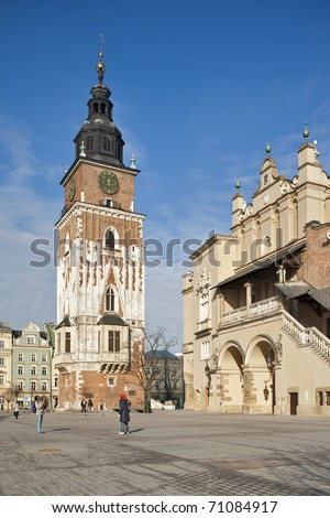 The gothic town hall tower on the main square in Krakow, Poland