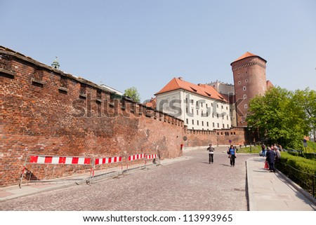 The Gothic Wawel Castle in Cracow in Poland was built at the behest of Casimir III the Great - stock photo