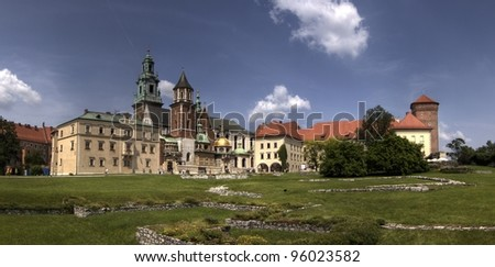 The Gothic Wawel Castle in Krakow (Cracow)  in Poland.