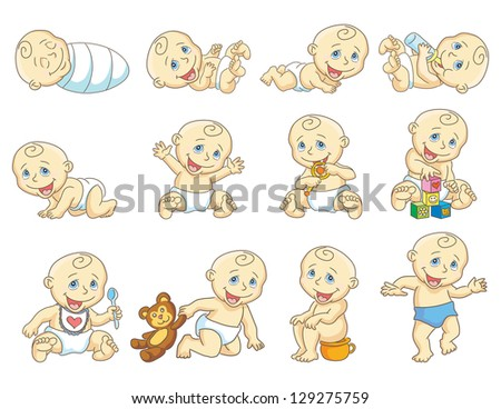 The gradual development of the child. Growth of  the child.  Raster version, vector file also included in the portfolio. - stock photo