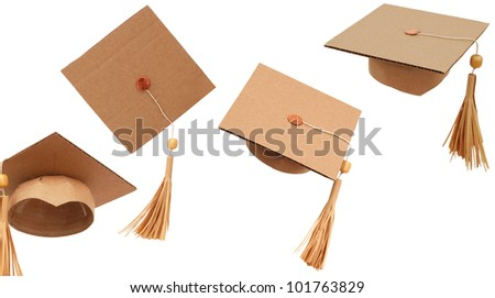 the graduation hats background - stock photo