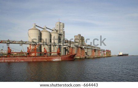 The grain storage facilities and terminal elevators at Necochea port, Argentina