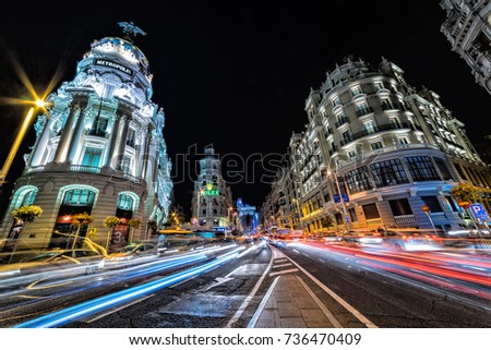 The Gran Via of Madrid at night - 9/24/17 - The famous shopping district of Madrid, the Gran Via, lit up at night