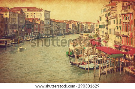 The Grand Canal in Venice, Italy. View from Rialto Bridge. Added paper texture - stock photo