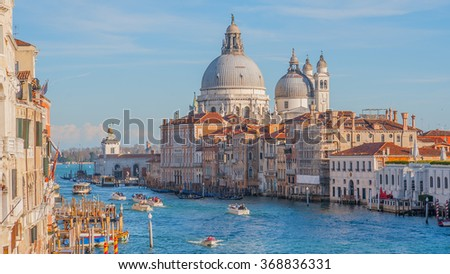 The Grand Canal is the one of the most famous tourist destination place in Europe, Venice, Italy - stock photo