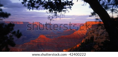 The Grand Canyon, in Grand Canyon National Park Arizona, photographed from the South Rim at sunset. - stock photo