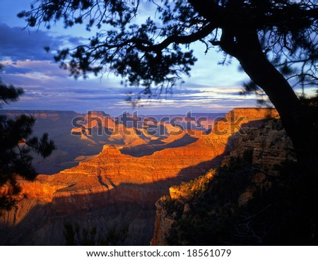 The Grand Canyon, in Grand Canyon National Park Arizona, photographed from the South Rim in the late afternoon. - stock photo
