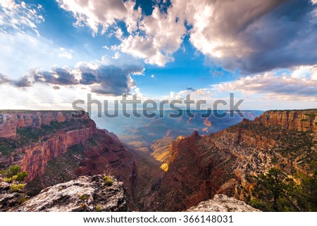 The Grand Canyon south rim in Arizona on a cloudy day - stock photo