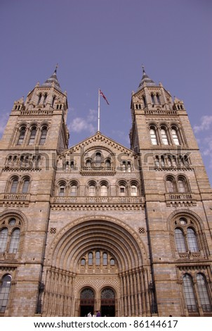 The grand entrance of the historic waterhouse building with the basalt columns in Kensington in London  accommodating the natural history museum