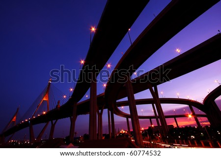 The Grand King Bhumibol Bridge Under Twilight, Bangkok-Thailand - stock photo