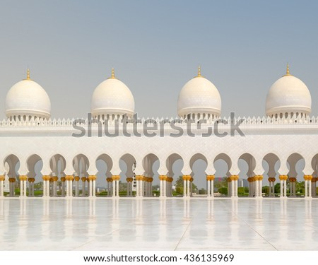 The Grand Mosque in Abu Dhabi. Traveling in UAE