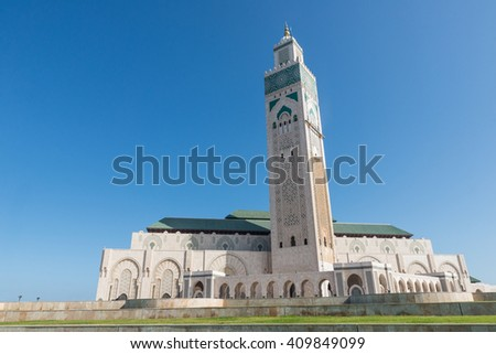 The Grand Mosque of Hassan II with blue sky in Casablanca, Morocco