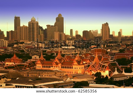 The Grand Palace Amongst Bangkok Cityscape, Thailand - stock photo