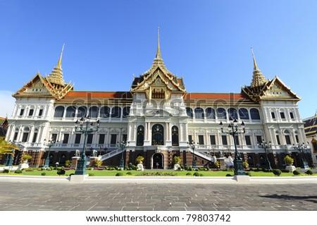 The Grand Palace at The Emerald Buddha temple, Bangkok, Thailand - stock photo
