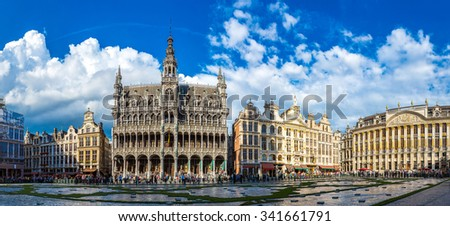 The Grand Place in a beautiful summer day in Brussels, Belgium - stock photo