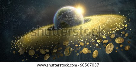 The grand ring around the Earth from gold coins with dollar sign - stock photo