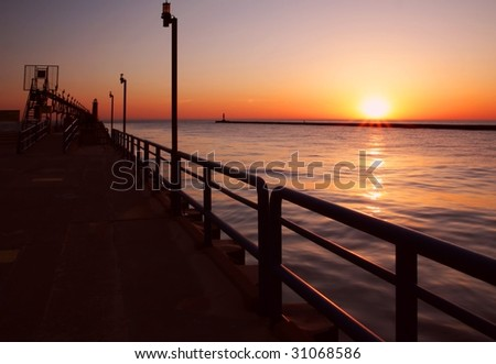 The Grand River at sunset - stock photo