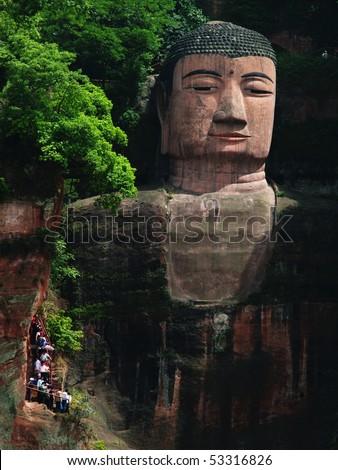 The Grand Stone Buddha of Leshan, China - stock photo