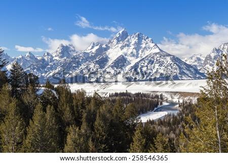 The Grand Teton in western Wyoming. - stock photo