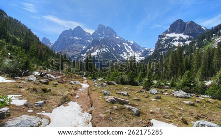 The Grand Tetons in Wyoming - stock photo