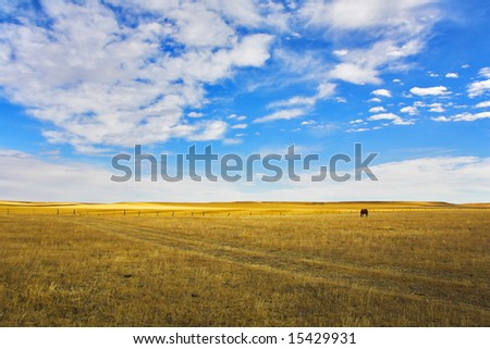 The grandiose sky of Montana above the American prairie in October - stock photo