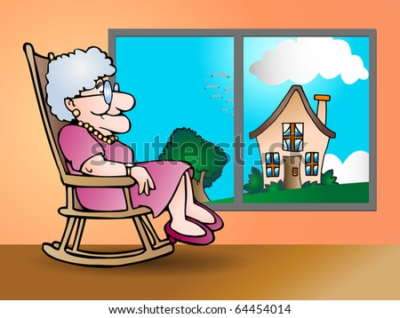 The grandmother sit on shaky chair at home illustration