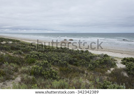 The Granites is a beach spanning 5kms within the Coorong, South Australia, named after the 2 metre high granite rock knobs that either sit on the sand or jut out of the sea depending on the tidal flow