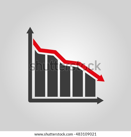 The graph down icon. Chart below and loss, reduction symbol. Flat  illustration