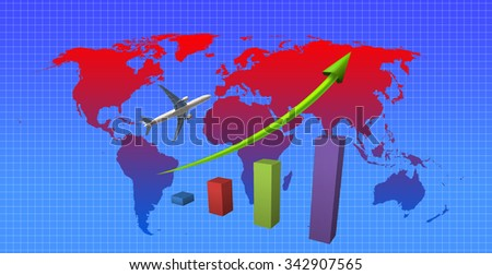 The graph of airplane business on the world map background. Elements of this image furnished by NASA. - stock photo