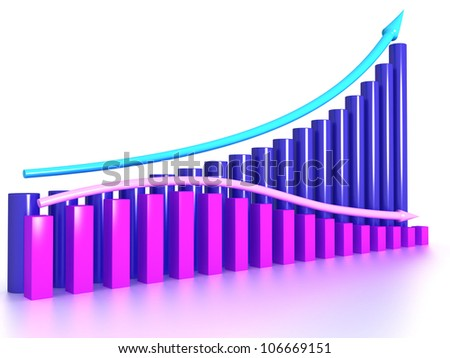 The graph of the two arrows on the mirror surface 4 - stock photo