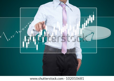 The graph shows the growth of the business. - stock photo