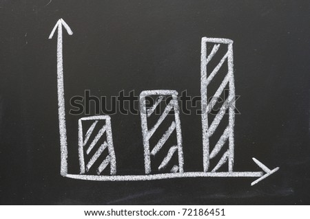 The graph shows the increase of the target. - stock photo
