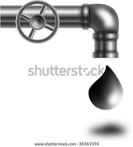 The graphic representation of a pipe from which drips oil - stock photo