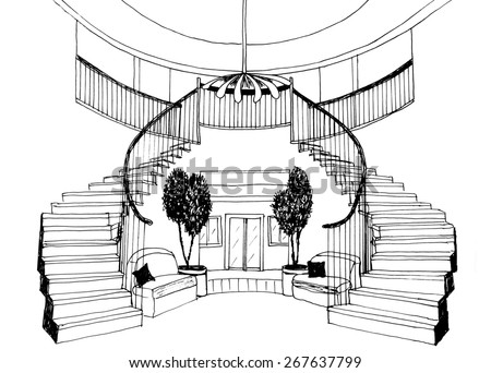 the graphic sketch a ladder in the house, liner - stock photo