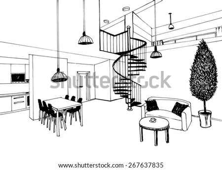 the graphic sketch a ladder with kitchen  in the house, liner - stock photo