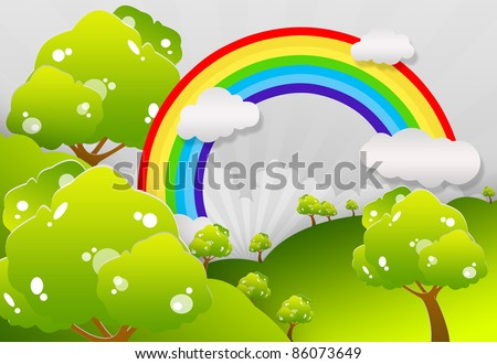 The grass with a blue sky and Rainbow