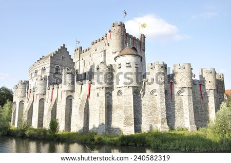 The Gravensteen is a castle in the ancient city of Ghent, Belgium, originating from the Middle Ages - stock photo