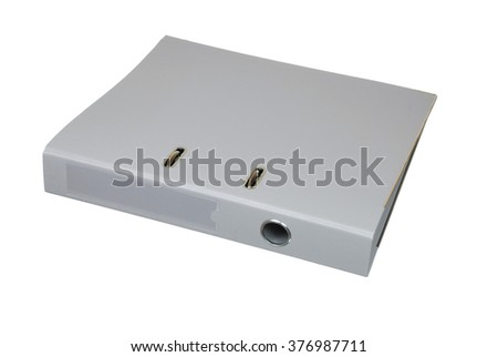 The gray cardboard folder on a white background