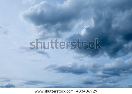 The gray cloud, dark storm sky, gray color background - stock photo
