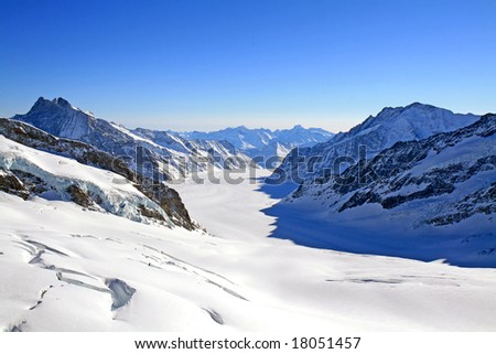 The Great Aletsch Glacier as viewed from Jungfraujoch, Switzerland. - stock photo