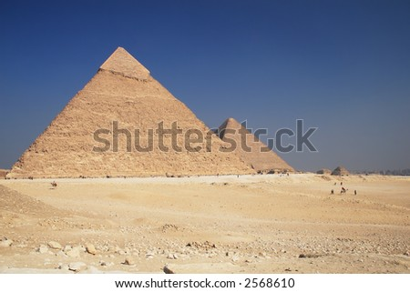The great ancient Pyramids in Giza, near Cairo (Egypt) - stock photo