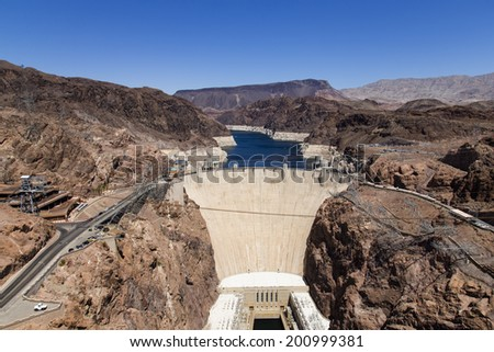 The great and powerful Hoover Dam - stock photo