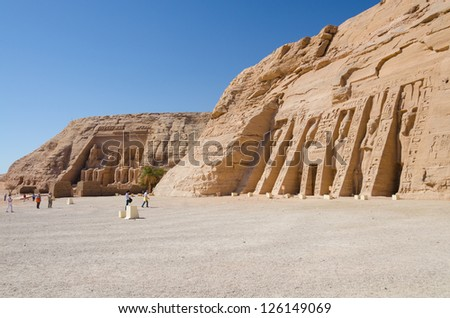 The Great and Small Temple of Abu Simbel, Egypt - stock photo
