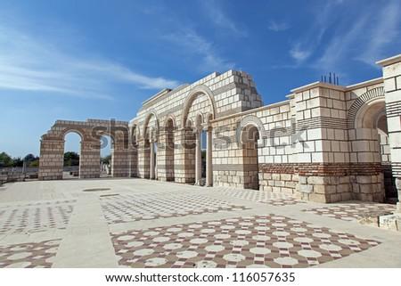 The Great Basilica at the first Bulgarian capital, Pliska - stock photo